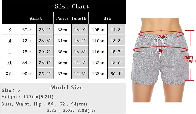 Perfetti per Dormire Yoga dello Sport Sykooria Pantaloncini Donna Estivi 100/% Cotone Shorts Sportivi a Vita Alta Morbido Tinta Unita e a Righe Pantaloni di Pigiama Corti Casual