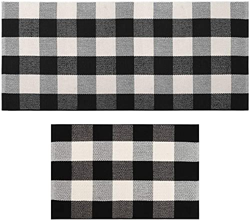 Seavish Indoor Outdoor Doormats Buffalo Checkered Rug,2 Piece Set Black and White Plaid Rug Handmade Woven Throw Rugs Includes 1.5 x2.3 2 x4,Machine Washable Carpet Welcome Mat