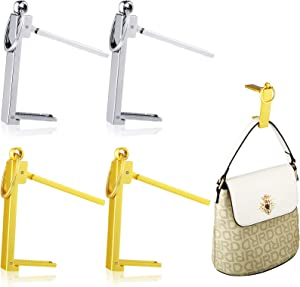 4 Pieces Foldable Purse Hook Bag Hanger Collection, Purse Handbag Hook Hanger Holder Foldable Stylish Hanging Hooks for Table Desk, Women's Handbag Storage Folding Decor Table Hook