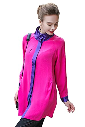 56563446 Image Unavailable. Image not available for. Color: VOA Women's Pink  Splicing Blue Long Sleeve Silk Shirt Blouse Top B115