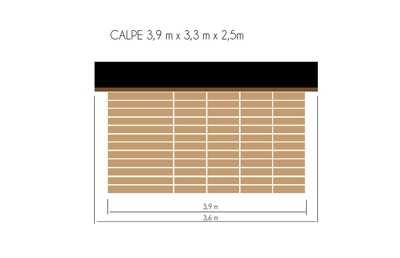 cadema Jardín Casa de madera, incluye suelo 3, 3 m x 3, 9 m x 2, 5 m, casa de dispositivo (16 mm) Calpe: Amazon.es: Jardín