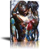 African American Black Couple Hugging Canvas Wall Art Decor for Bedroom Living Room Abstract Graffiti Painting Print…