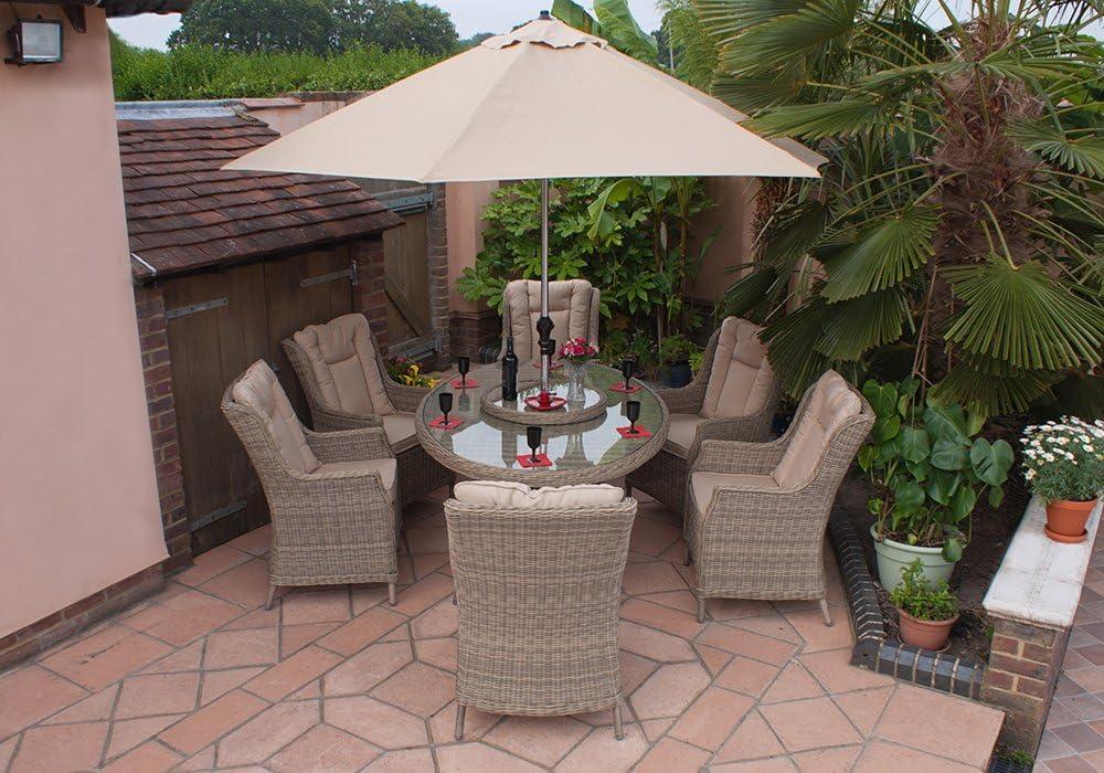 Corfú Casamore 180 cm 6 plazas elíptica ala espalda sillones ...