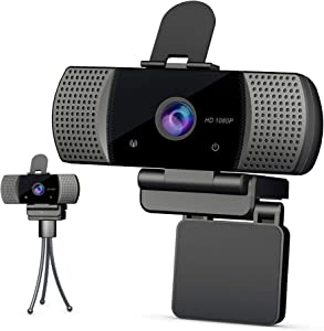 Wide Compatibility HD Webcam with Microphone 1080P[Privacy Cover &Tripod],Webcam with USB Streaming for Computer Desktop Laptop,110° Wide Angle with Plug and Play for Video Calling.