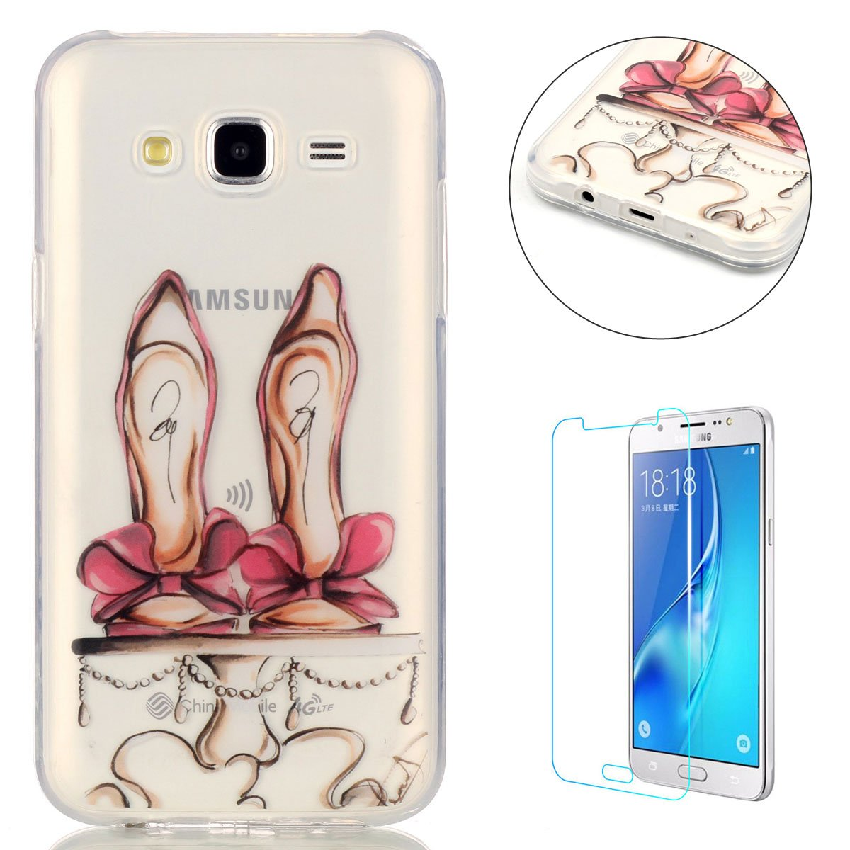 CaseHome For Samsung Galaxy J7 2015 Gel TPU Case Shock Proof Durable [Free Screen Protector]