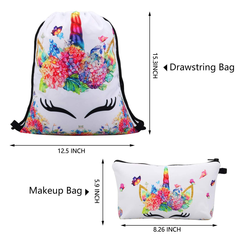 RLGPBON Unicorn Gifts for Girl Drawstring Backpack//Makeup Bag//Unicorn Pendant Necklace//Bracelet//Hair Ties