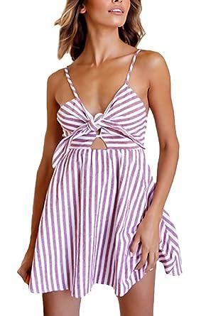 HX fashion Vestidos Mujer Verano Playa Elegantes Rayas Vestidos Cortos Sin Mangas Basic Ropa V Cuello Espalda Descubierta Vestido Vintage Años 50 Casual ...