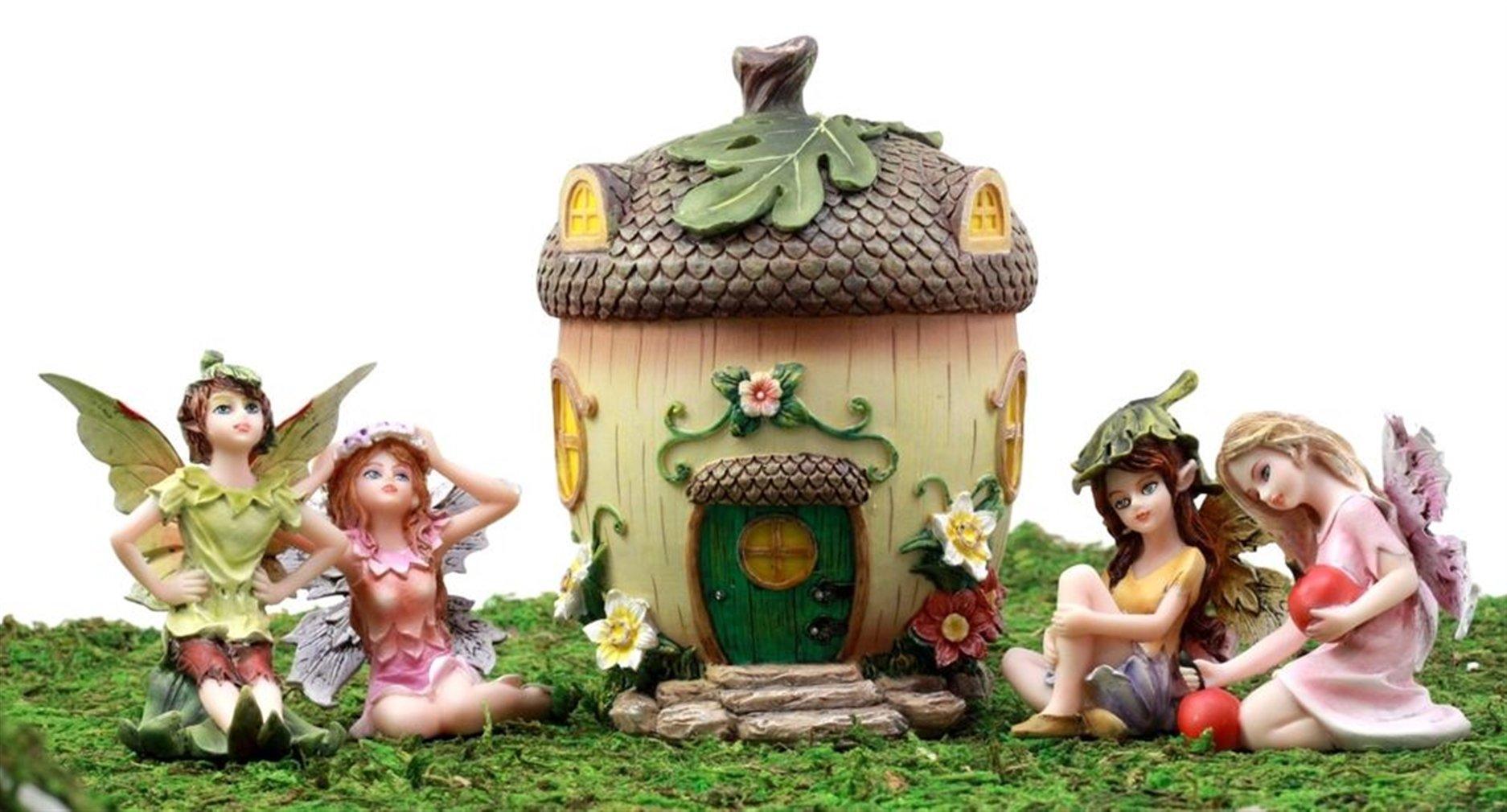 Ky & Co YesKela Fairy Garden Miniatures Starter Kit Acorn Home & Fairy Figurines Set of 5 pcs
