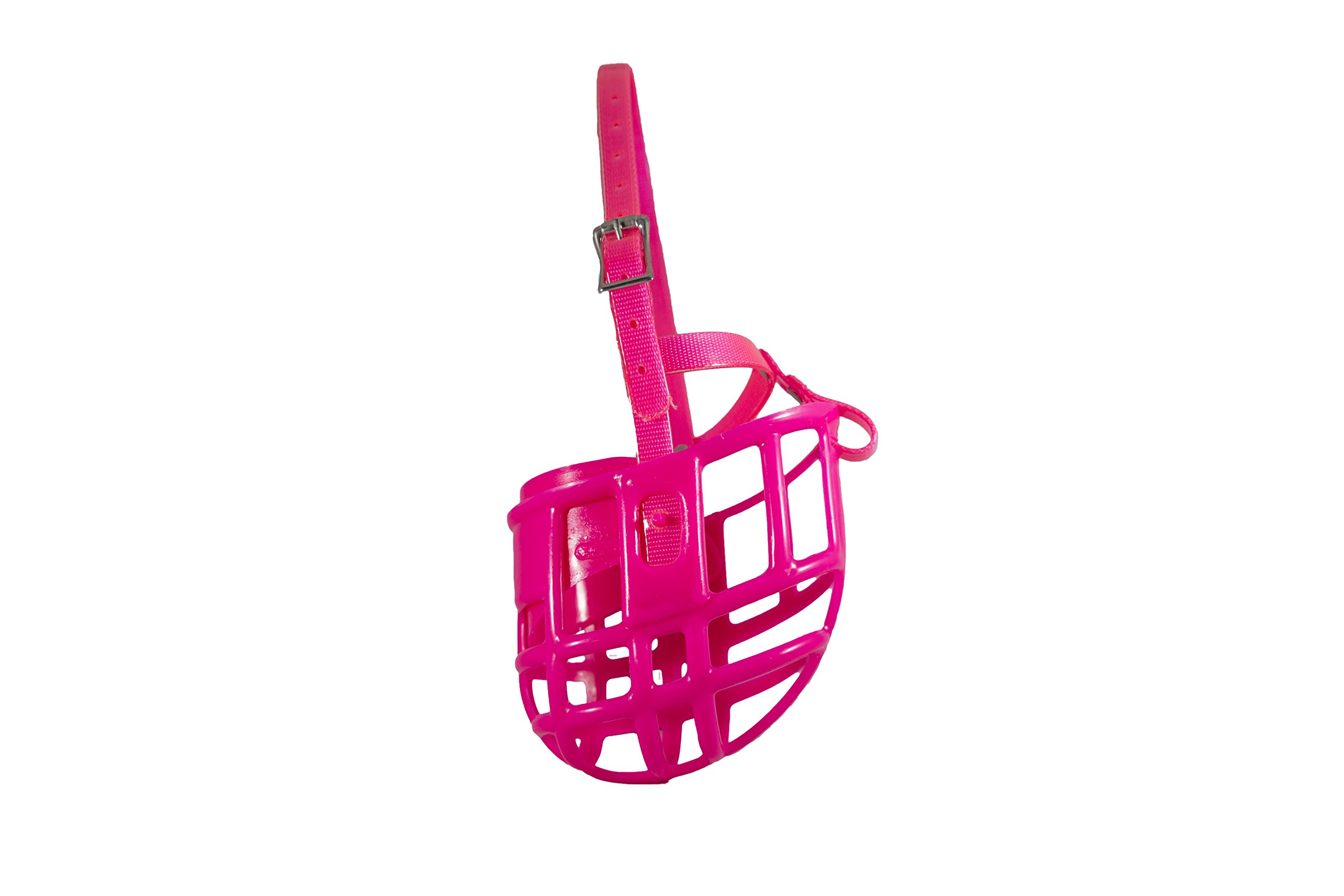 Birdwell Enterprises - Plastic Dog Muzzle with Adjustable Plastic Coated Nylon Headstall - Made in The USA - (Small, Pink)
