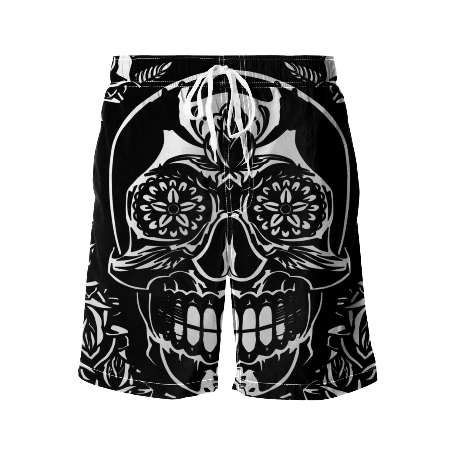 GOEYES Mens Beach Shorts Slim Gym Shorts Quick Dry Athletic Shorts Watershorts Black and White Floral Decor Day of The Dead Mexic