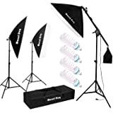 """MOUNTDOG 1350W Photography Studio Lighting Kit Arm for Video and YouTube Continuous Lighting 20x28"""" Professional Lighting Set Softbox with 6500K Daylight Bulbs"""