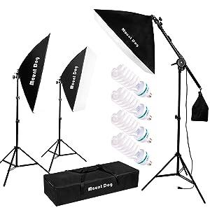 MOUNTDOG 1350W Photography Studio Softbox Lighting Kit Arm for Video and YouTube Continuous Lighting 20''x28'' Professional Lighting Set Softbox with 6500K Daylight Bulbs