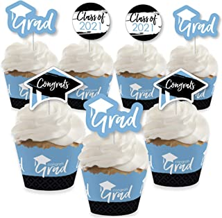 product image for Big Dot of Happiness Light Blue Grad - Best is Yet to Come - Cupcake Decoration - 2021 Light Blue Graduation Party Cupcake Wrappers and Treat Picks Kit - Set of 24