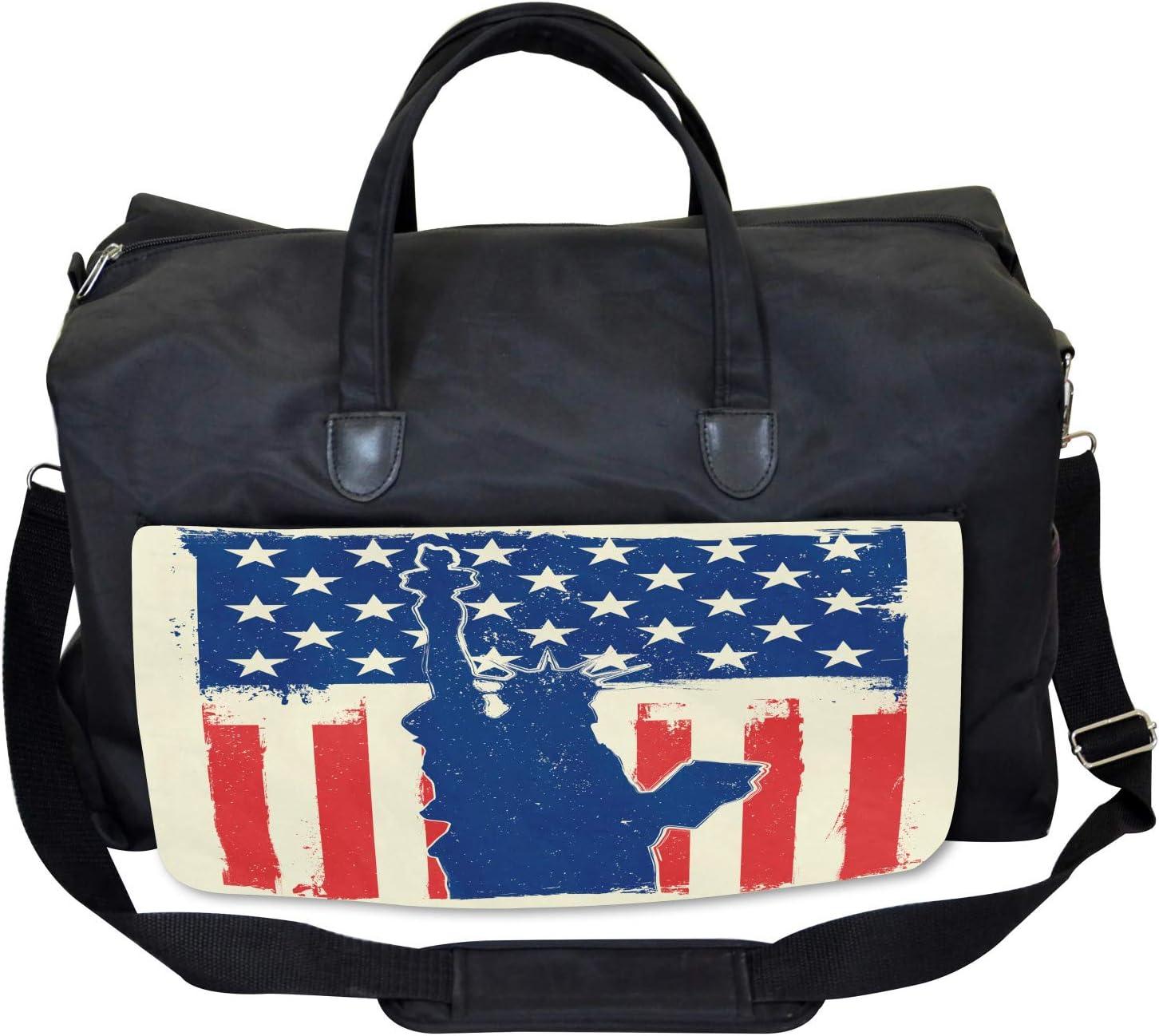 Ambesonne 4th of July Gym Bag Grunge Flag Design Large Weekender Carry-on
