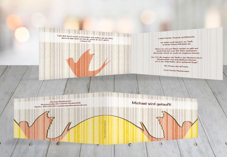 Kartenparadies Kartenparadies Kartenparadies Einladungskarte Taufeinladung Taufkarte Streifenharmonie, hochwertige Einladung zur Taufe inklusive Umschläge   100 Karten - (Format  215x105 mm) Farbe  OckerBeige B01N6WW62B | Verrückte Preis  | Praktisch Und Wirtschaftlich  | Rich- 9f8db0