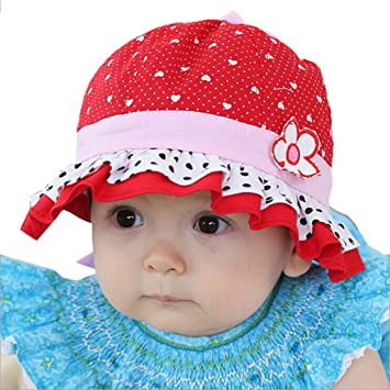 953d8d1511474 Amazon.com  Meily® Love BabySun Flower Polka Dot Hearts Summer Hat  Baby