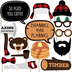 Big Dot of Happiness Lumberjack - Channel the Flannel - Buffalo Plaid Photo Booth Props Kit - 20 Count