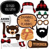 Lumberjack - Channel the Flannel - Buffalo Plaid Photo Booth Props Kit - 20 Count