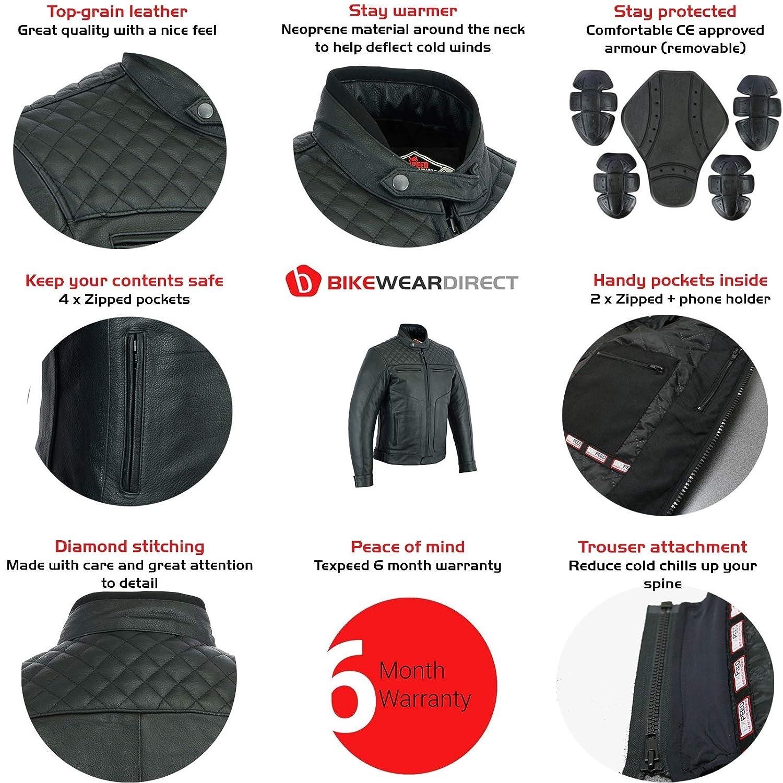 Sizes M to 7XL Texpeed Armoured Black Leather Diamond Stitched Motorcycle//Motorbike Jacket