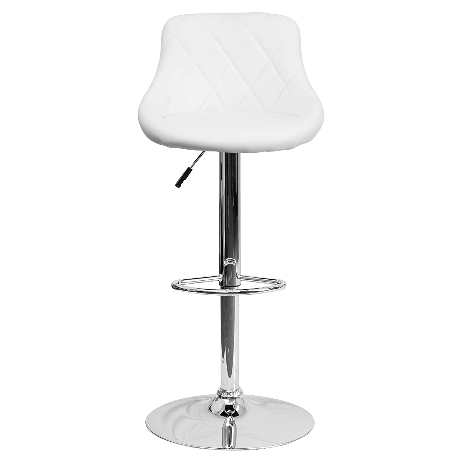 Amazoncom Flash Furniture Contemporary White Vinyl Bucket Seat Adjustable Height