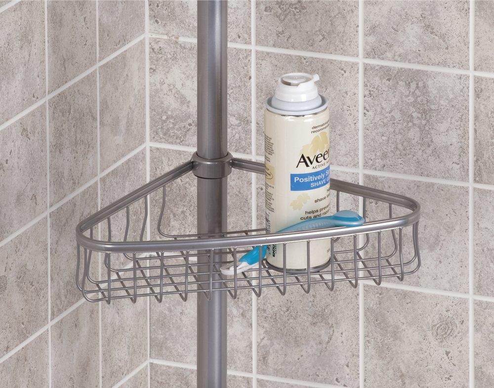 blanco mat Pr/áctico organizador de ducha extensible para jab/ón champ/ú mDesign Estanter/ía de ducha con barra telesc/ópica de metal Estanter/ía para ducha esquinera sin taladros manoplas etc