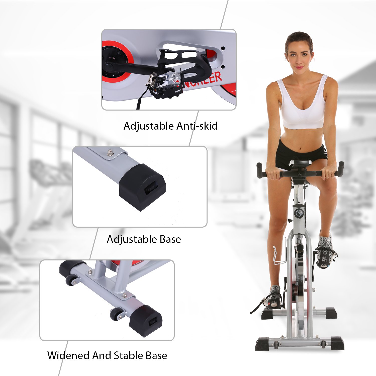 ANCHEER Indoor Cycling Bike, Belt Drive Indoor Exercise Bike with 49LBS Flywheel (Sliver) by ANCHEER (Image #8)