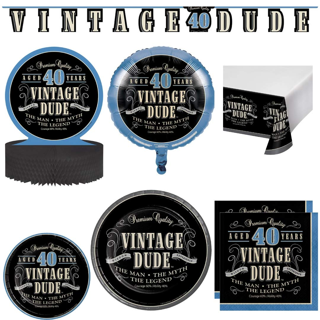 Vintage Dude 40th Birthday Party Supplies, Serves 24 Guests: Dinner Plates, Dessert Plates, Napkins, Table Cover, Balloon, Centerpiece Decoration, Banner, Wildflower Party Planner