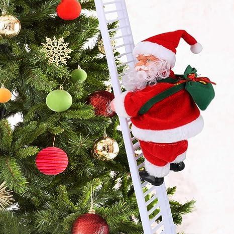 Idefair Electric Santa Doll Juguetes navideños, Escalera eléctrica de Escalada Santa Cantando Colgante Adorno de árbol de Navidad Hogar Pared Chimenea ...
