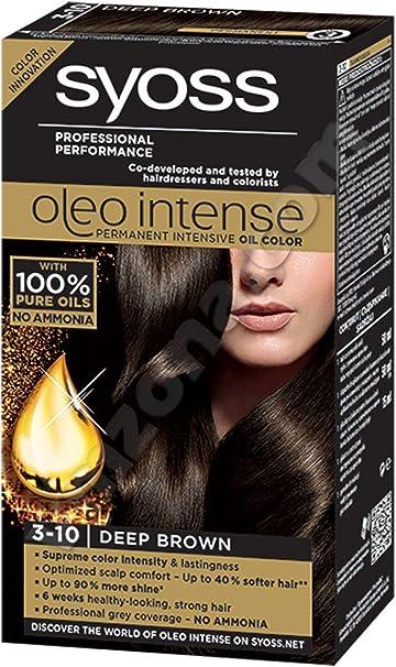 Syoss Oleo Intense Tinte 100% Aceites Puros 0% Amonia 3-10 Marrón Profundo
