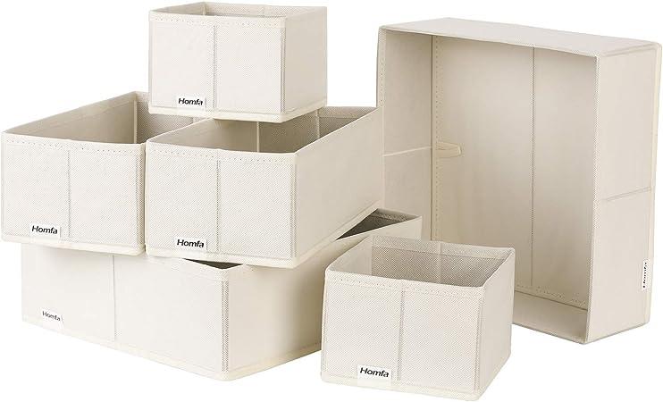 Homfa 6PCS Cajas Almacenamiento Tela Cajas Organizadores de Cajones para Almacenaje Cubos Tela Plegables (Tamaños Variados 3) (Beige): Amazon.es: Hogar