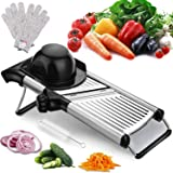 Adjustable Mandoline Slicer with Free Cut-Resistant Gloves and Brushes Stainless Steel Slicer Vegetable Potato Onion…