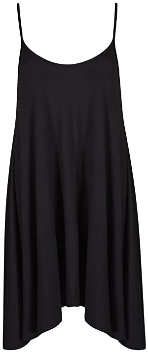 PurpleHanger Women's Strappy Uneven Short Mini Cami Swing Dress Black 8-10