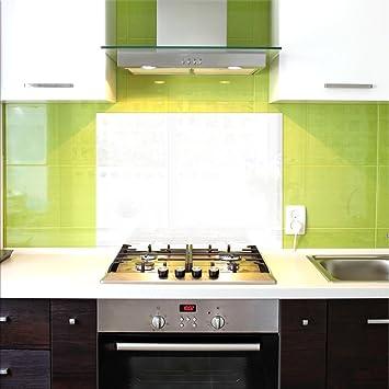 Küchenrückwand, Glas Spritzschutz, 100 x 60 cm, Weiß, UltraClear ...