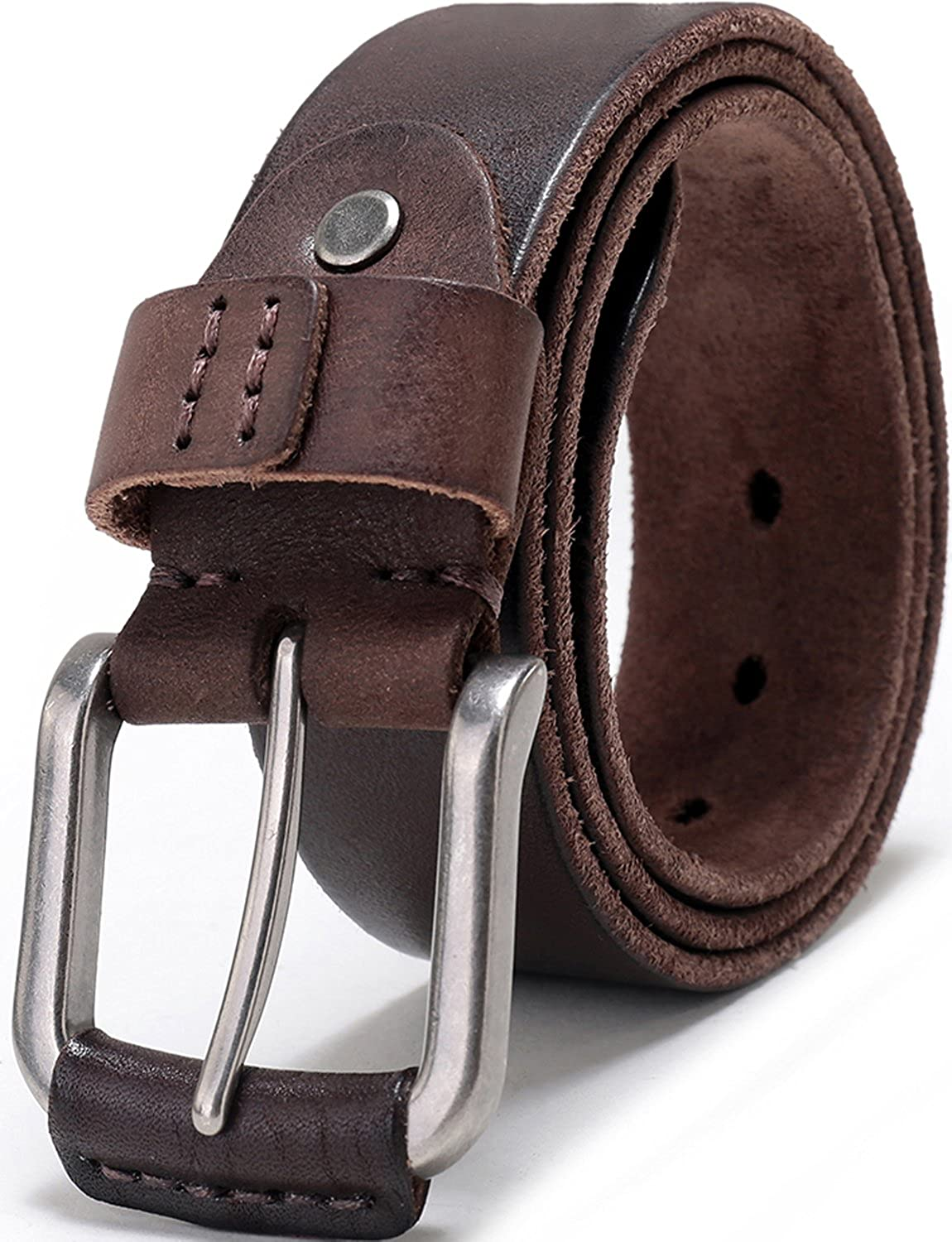 Mens Full Grain 1 1//2 Wide Leather Bridle Belt with Anti-Scratch Vintage Buckle