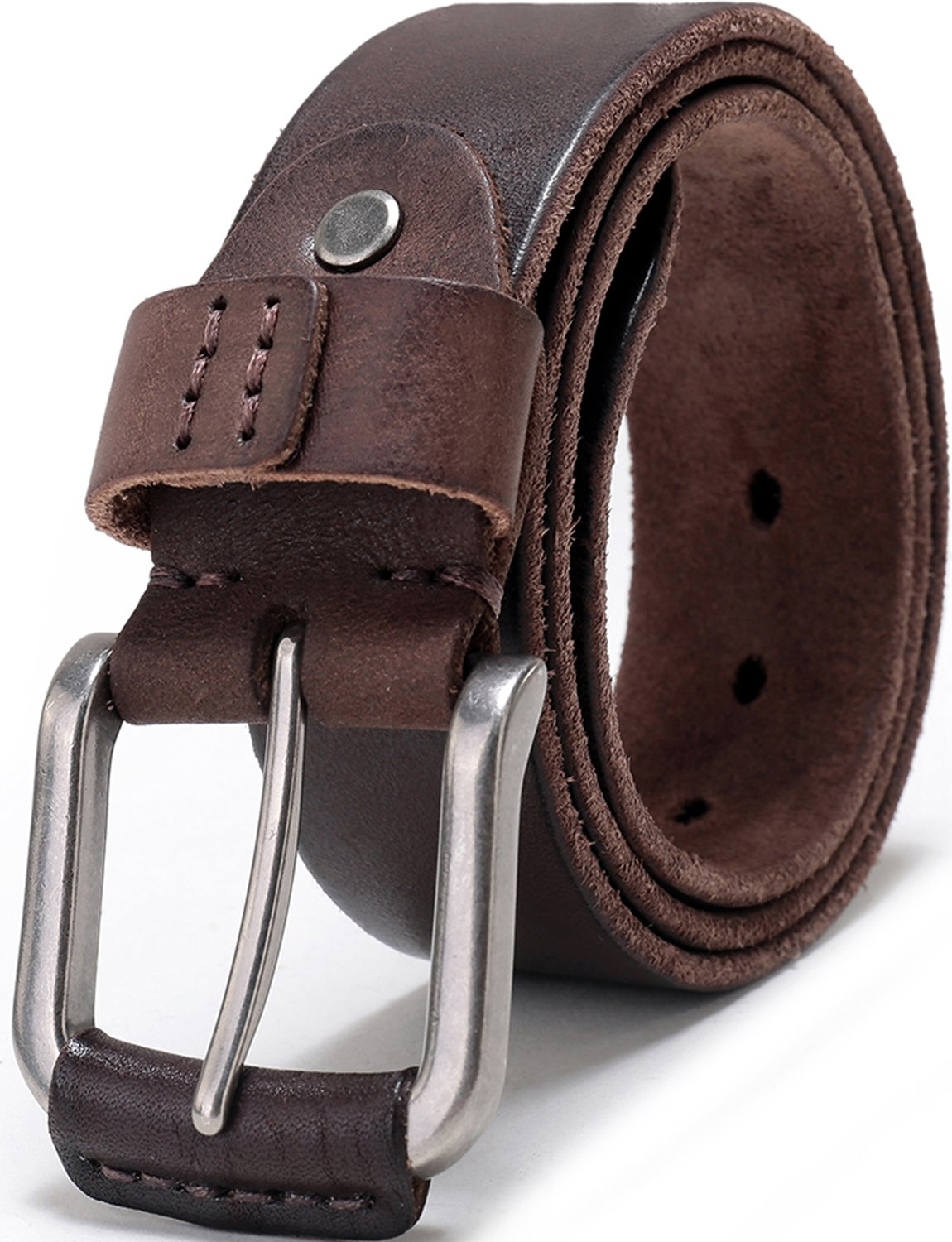 Beltox Fine Men's Full Grain 1 1/2'' Italian Leather Belt with Anti-nickel Buckle … … (50-52, coffee)