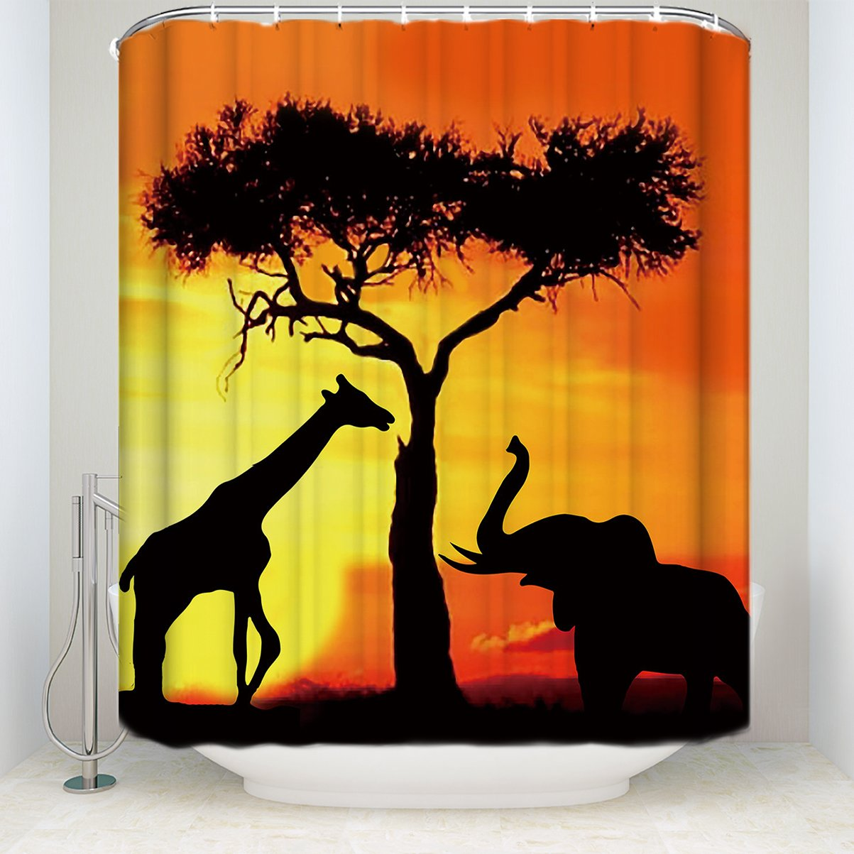 PaCoShower Elephants Shower Curtain Black Redn Plaid Print Waterproof Polyester Shower Curtains for Bathroom, 36 x 72 Inch Washable