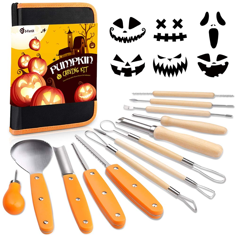 D-FantiX Halloween Pumpkin Carving Kit, 13 Pieces Professional Stainless Steel Pumpkin Carving Tools Kit with Stencils and Carrying Case - Carve Sculpt Jack-O-Lanterns Halloween Decoration DIY Supplie by D-FantiX