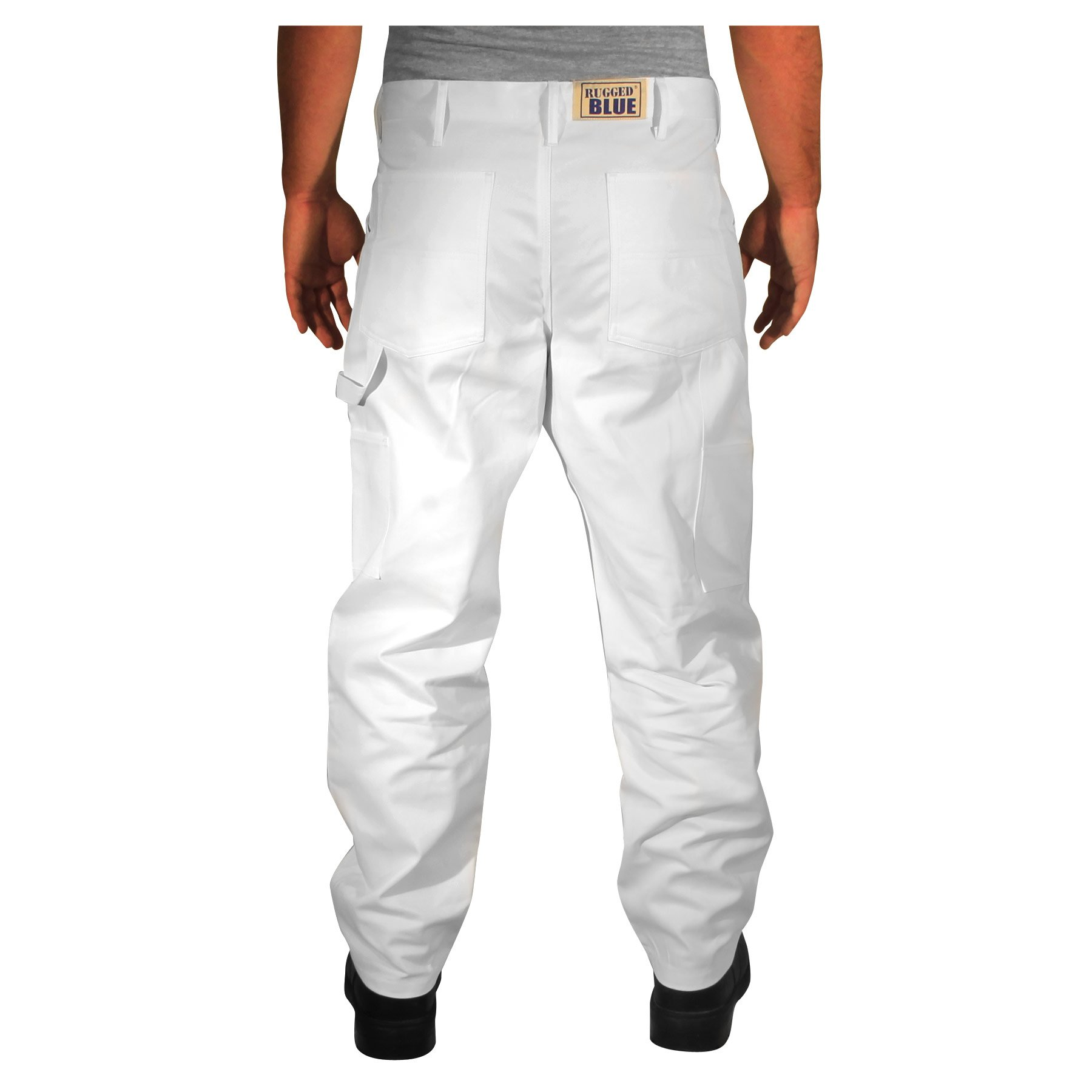 Rugged Blue CSGPTWP1000025168-WHT-48X36 Double Knee Painters Pants, English, Cotton, 48 x 36, White by Rugged Blue (Image #2)