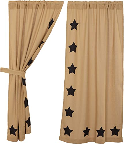 VHC Brands Classic Country Primitive Window Burlap w/Stars Tan Short Curtain Panel Pair