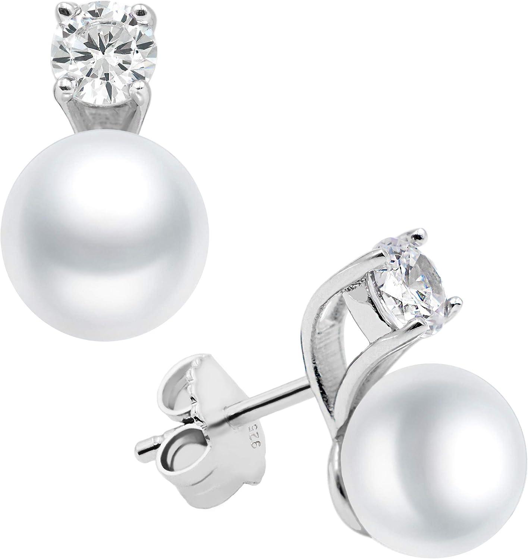 Pendientes de mujer de perlas cultivadas de agua dulce con circonita SECRET & YOU. Diseño Tú y Yo - Pendientes de Plata de Ley Rodiada de 925 milésimas con tuerca grande.