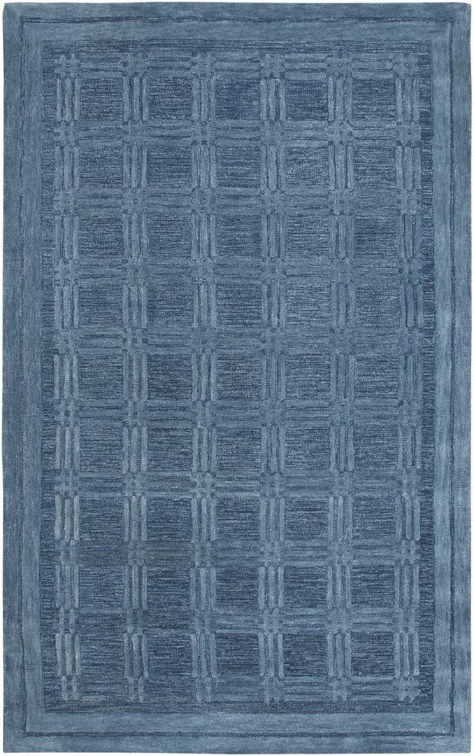 Rizzy Home Fifth Avenue Collection Wool Area Rug, 9' x 12', Blue/Gray/Rust/Blue Squares