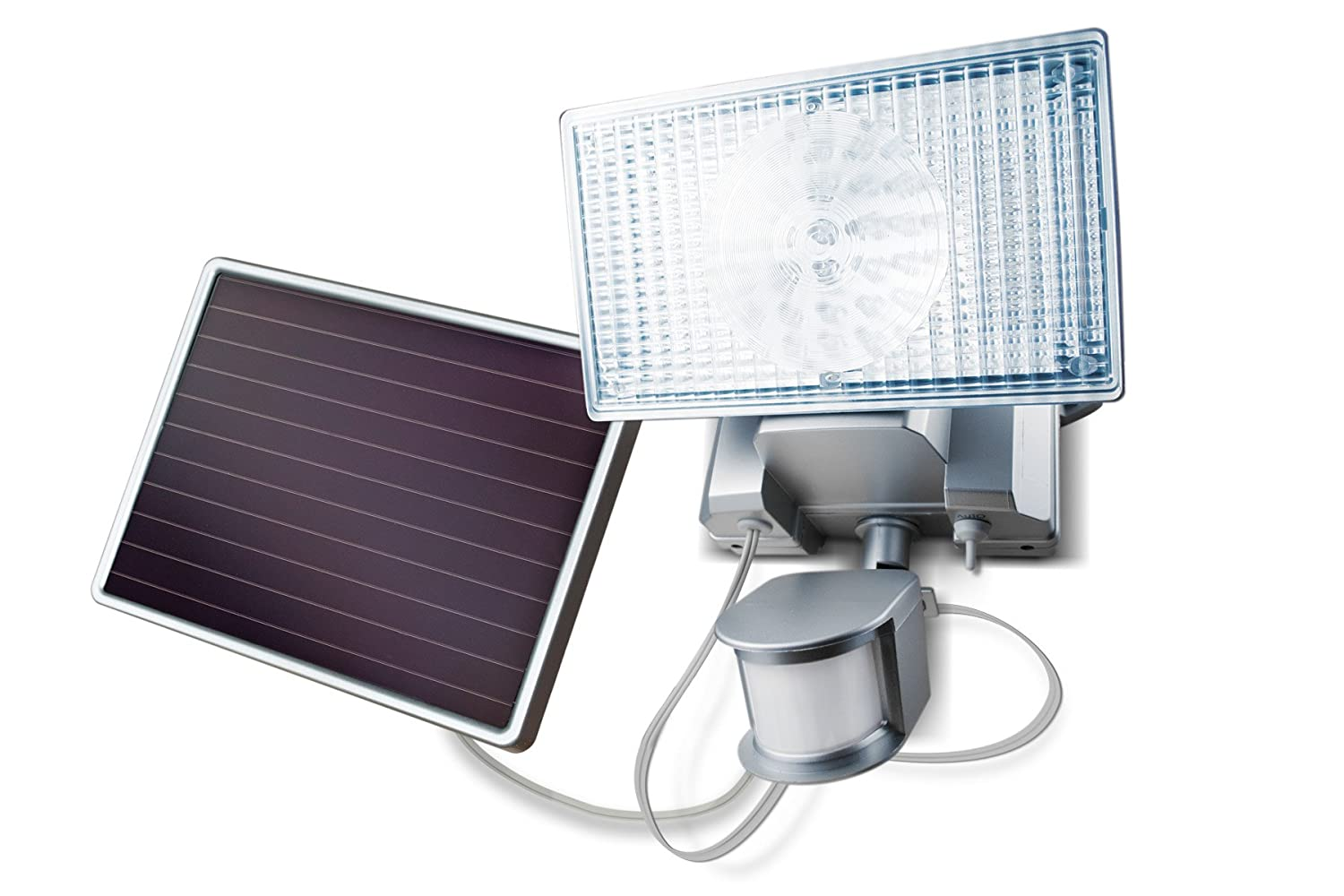 amazoncom maxsa security floodlight 100 led bright solar powered outdoor light silver automotive