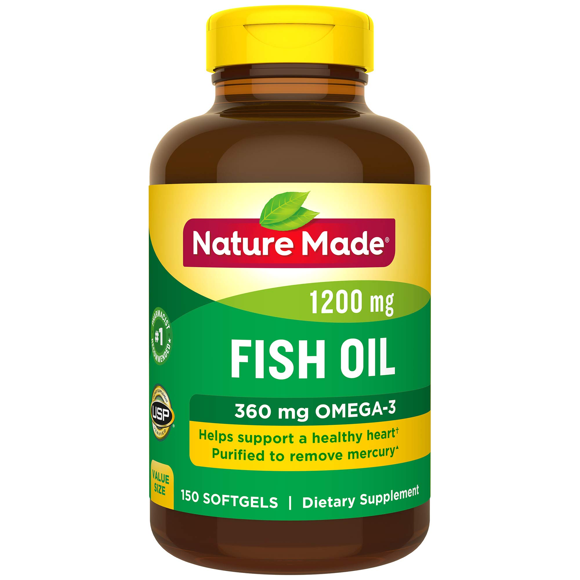 Nature Made Fish Oil 1200 mg Softgels, 150 Count Value Size for Heart Health† (Packaging May Vary) by Nature Made