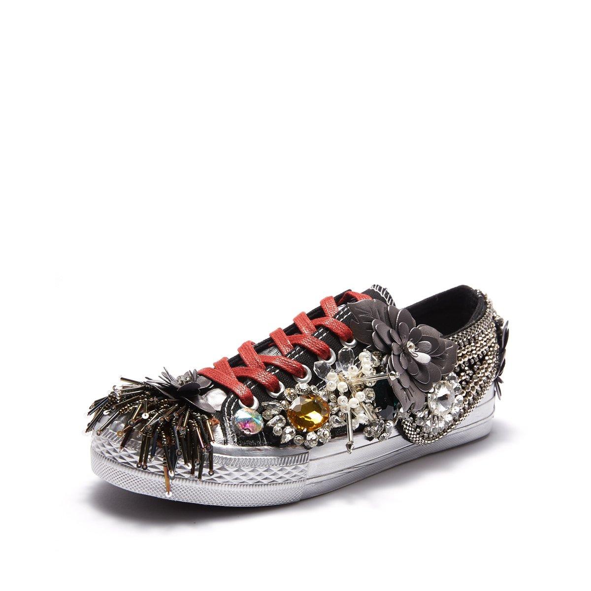 NBWE Femmes Rivets Hip-hop Rue Décoration personnalité Chaussures Chaussures Rivets Strass NBWE Gland Métal Décoration Chaussures Basses Black 55d1d7a - conorscully.space