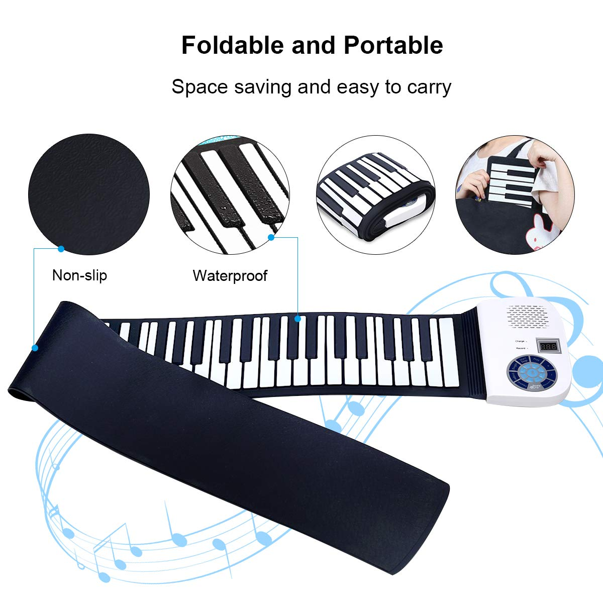 BABY JOY Roll Up Piano, Upgraded Electronic Piano Keyboard, Portable Piano w/Bluetooth, MP3 Headphone USB Input, MIDI OUT, 128 Rhythms, Record, Play, Volume Control (White, 88Keys) by BABY JOY (Image #5)