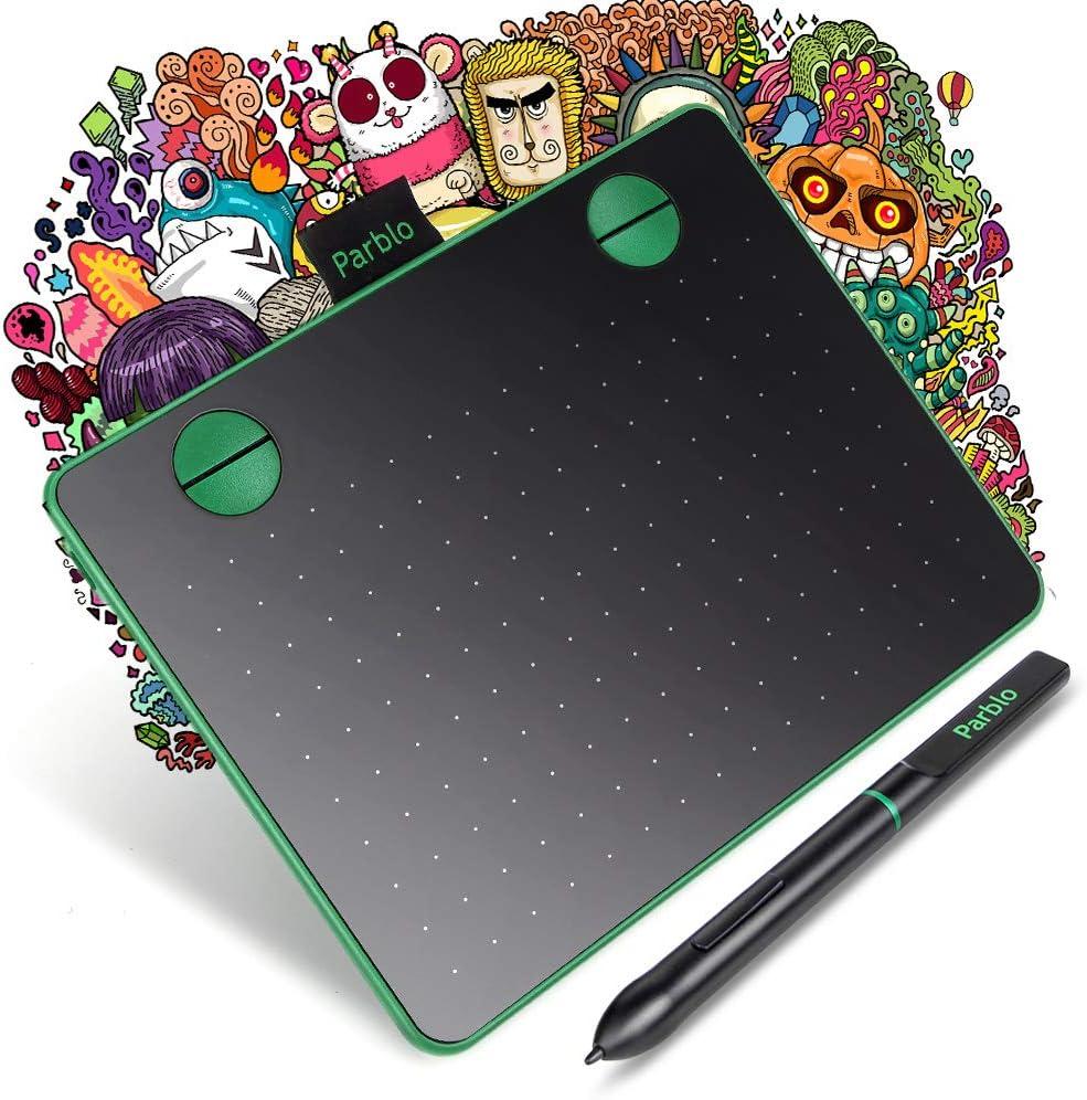 Parblo A640 Tableta Gráfica Digitalizadora 6 x 4 Pulgadas para OSU, 8192 Niveles Presión para Dibujar, óptima para la educación en línea y el ...