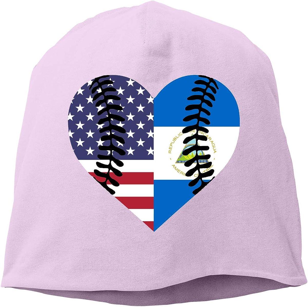 TLPM9LKMBM Nicaragua USA Flag Half Baseball Beanie Skull Cap for Women and Men Winter Warm Daily Hat