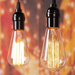 Edison Light Bulbs 60 Watt: 6 Pcs Clear Bulbs with Warm Yellowish Light Suit for E26 E27 Base Dimmable Incandescent Light Bulbs for Vintage Style Home Decoration Light Bulbs