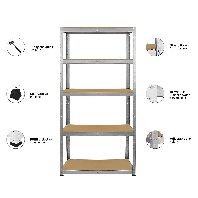 Dripex 180cm x 90cm x 40cm 5 Tier Boltless Metal Storage Shelves - More Color and Size Available Heavy Duty Shelving Unit - 265kg Per Shelf