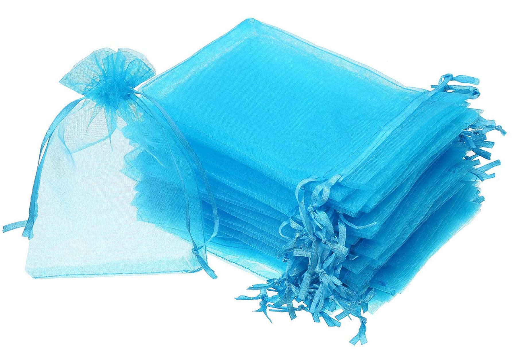 Wukong 100PCS 6x9 Inch(16x22cm) Drawstring Organza Jewelry Favor Pouches Wedding Party Festival Gift Bags Candy Bags-Blue